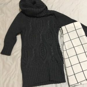Gray cableknit sweater